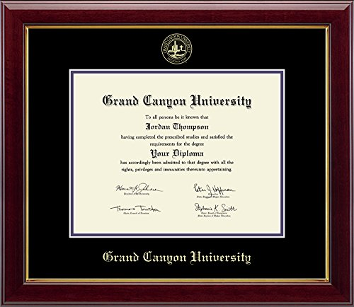 """Grand Canyon University Gold Embossed Diploma Frame – Solid Hardwood """"Gallery"""" Moulding, Officially Licensed – By Church Hill Classics (Diploma Size 8.5''h x 11''w) by Church Hill Classics"""