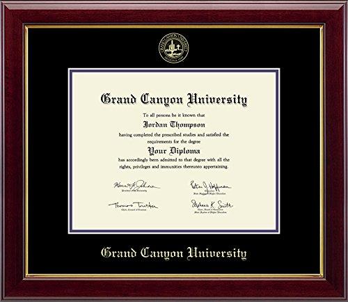 Grand Canyon University Gold Embossed Diploma Frame Solid Hardwood