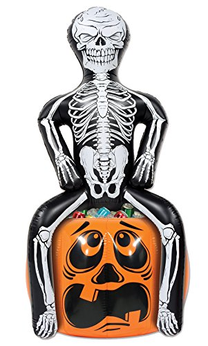 UHC Inflatable Skeleton Pooper Cooler Horror Party Supplies Halloween Decoration