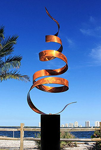 Abstract Modern Copper Freestanding Metal Yard Garden Sculpture - Contemporary Indoor/Outdoor Decor Painted Art - Copper Wisp by Jon Allen - Freestanding Sculpture