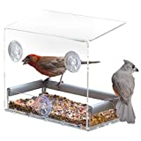 Petfusion Tranquility Window Bird Feeder in PREMIUM LUCITE ACRYLIC. (I) Removable Tray, (II) 3 Perches