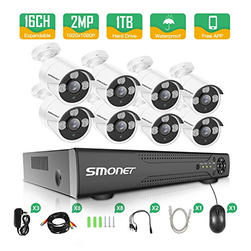 【2018 Newest】 HD Security Camera System,SMONET 16CH 4-in-1 HD DVR Security Camera System (1TB Hard Drive),8pcs 1080P Security Outdoor Cameras,DVR Kits for Easy Remote Monitoring,Super Night Vision