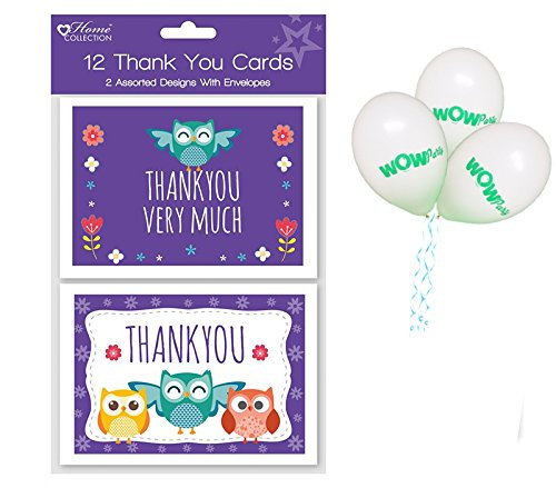 2 Assorted Designs with Pack of 3 Complimentary Balloons WOW Pack of 12 Woodland Owls Thank you cards and Envelopes