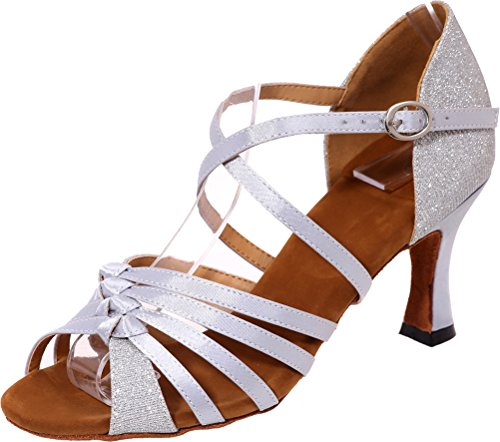 Vimedea Womens Comfort Knot Latin Tango Cha-Cha Swing Ballroom Party Wedding Sudue Sole Kitten Heel Glitter PU Dance Shoes Silver GcMmIhrQS