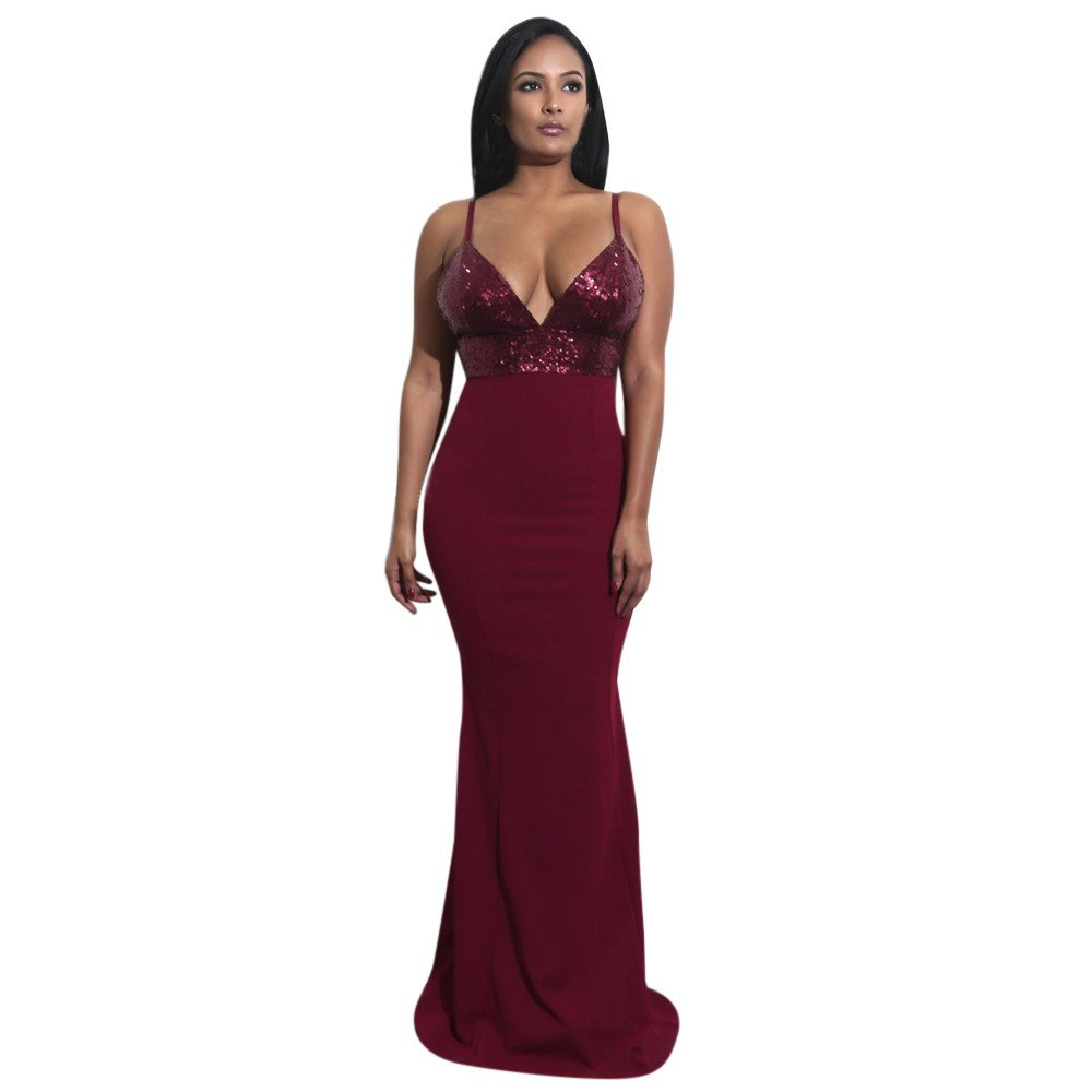 Women Tank Top Dresses Lady Sequined Prom Deep V Sleeveless Evening Party Pullover Top Maxi Dress (L, Red)