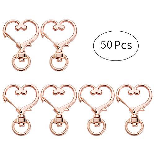 BAOBAO 50 PCS Metal Swivel Lobster Clasp Snap Hook Star Shape Craft Keychain Accessories (50pcs, Heart Shape(Rose ()