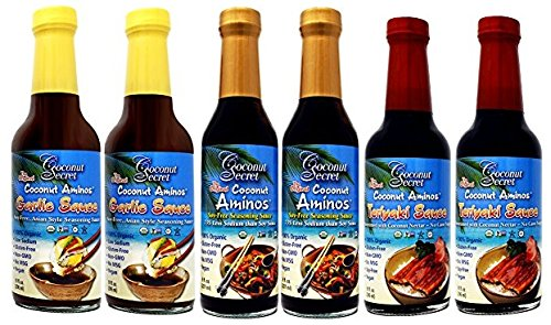Coconut Secret Coconut Aminos Teriyaki Sauce, Garlic Sauce, and Aminos 6 Pack