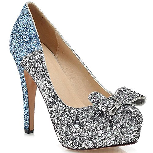 de Azul de de de zapatos alto Lentejuelas de de Mezclados Colores Mujer 062263