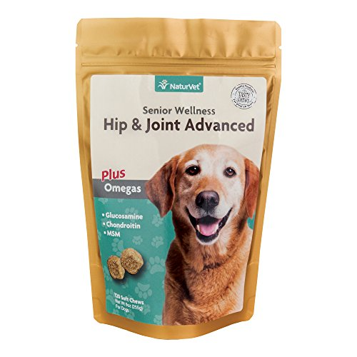 NaturVet Senior Wellness Hip & Joint Advanced Plus Omegas for Dogs, 120 ct Soft Chews, Made in USA