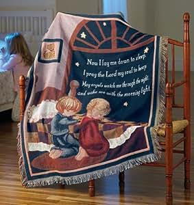 Now I Lay Me Down To Sleep Prayer Pray Sleep Knit Throw Blanket God Faith Brand New