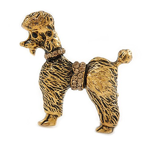 (Avalaya Vintage Inspired Crystal Poodle Dog Brooch in Antique Gold Tone - 35mm Tall)