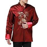 XueXian(TM) Mens Long Sleeve Chinese Dragon Autumn Tang Jacket Kung Fu Clothes (China XL: Bust 45.67'', wine)