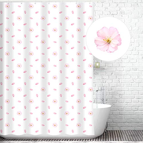 Traveling Twins Cherry Blossom Flower Shower Curtain Liner (100% Polyester Fabric, Waterproof and Mildew Resistant + Weighted Bottom) - 72 x 70 inches