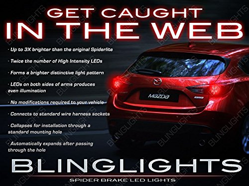BlingLights White LED Spider Light Bulbs for Mazda3 Sedan Hatchback Tail (Street Glow White Strobe Light)