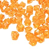Cheap Orange Fake Crushed Ice Rocks, 150 PCS Fake Diamonds Plastic Ice Cubes Acrylic Clear Ice Rock Diamond Crystals Fake Ice Cubes Gems for Home Decoration Wedding Display Vase Fillers by DomeStar