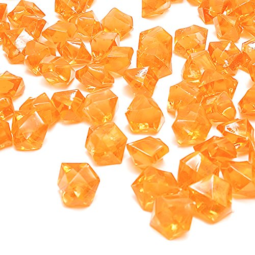 - Orange Fake Crushed Ice Rocks, 150 PCS Fake Diamonds Plastic Ice Cubes Acrylic Clear Ice Rock Diamond Crystals Fake Ice Cubes Gems for Home Decoration Wedding Display Vase Fillers by DomeStar
