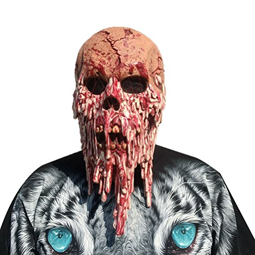 AMOSFUN Halloween Creepy Costume Mask Latex Ghostface Mask Costume Props Scary Creepy Horror Mask for Masquerade Halloween Party Spook House ()