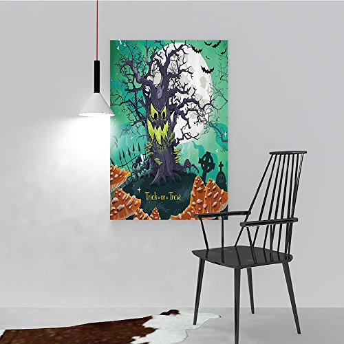 Wall Art Painting Frameless Trick or Treat Halloween Theme Dead Forest with Spooky Tree GravesMushrooms Posters Wall Decor Gift W16 x -
