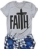 Nlife Summer Faith Letter Print Tops Short Sleeve Round Neck Couple T-Shirt