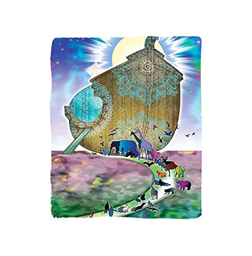 Kisscase Custom Blanket Mystic Noahs Ark Myth Themed Big Ship with All Couple Animals on the Shore Sacred Graphic Bedroom Living Room Dorm Multi