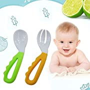 2 Pcs Baby Kids Infant Self-feeding Flatware Training PP Bent Fork Spoon Set