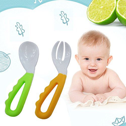 2 Pcs Baby Kids Infant Self-feeding Flatware Training PP Bent Fork Spoon Set (Sets Spoon Starter)