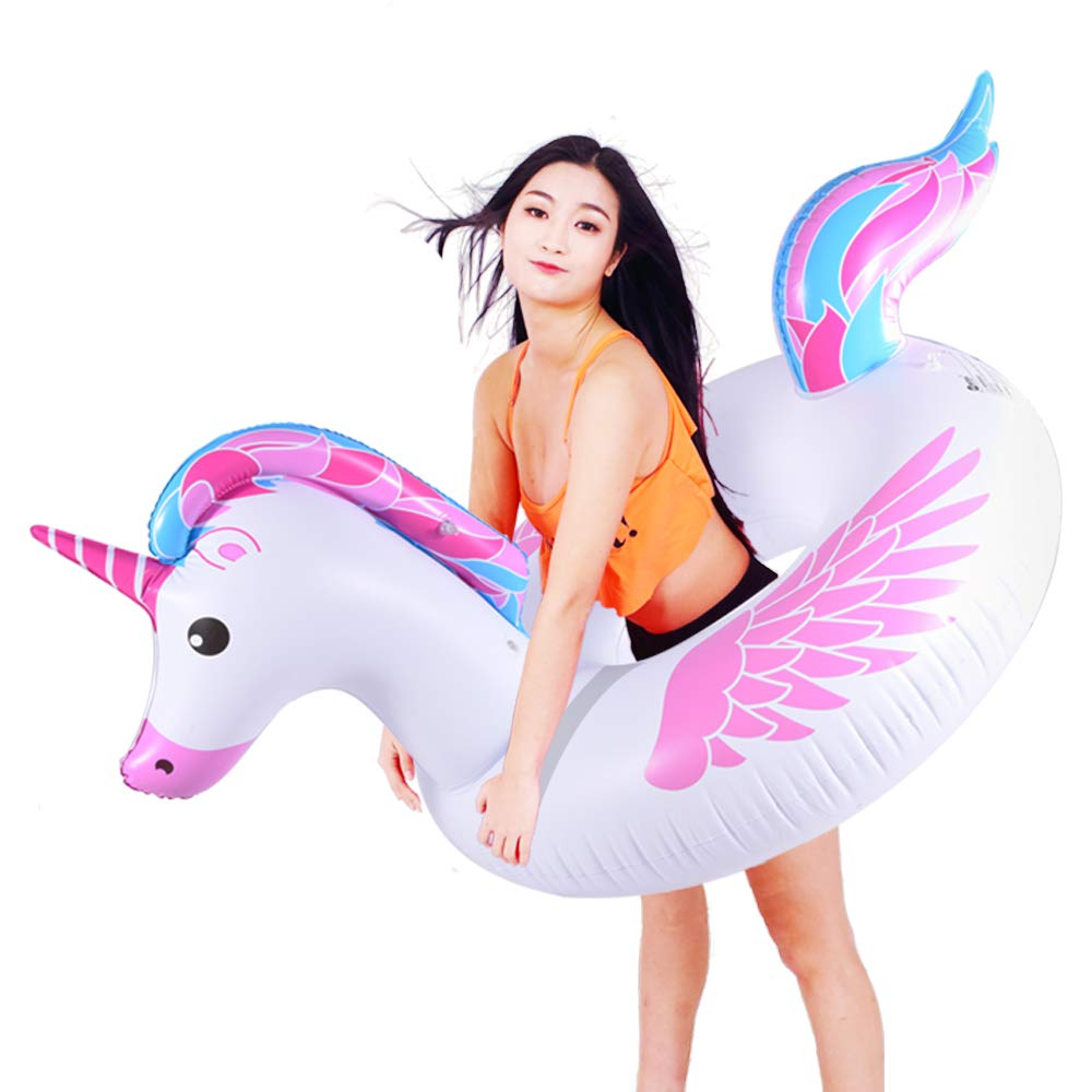Inflatable Unicorn Pool Float Tube for Party Decorations, Unicorn Inflatable Raft Pool Toys, 67 Inches Giant Pool Float for Adults and Kids