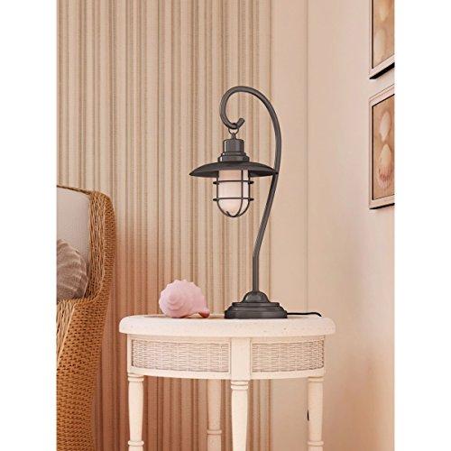 Lite Source LS-21455AB Lanterna Table Lamp, Antique Brass Metal Lantern with Glass Shade Lite Source Lighting Glass Floor Lamp
