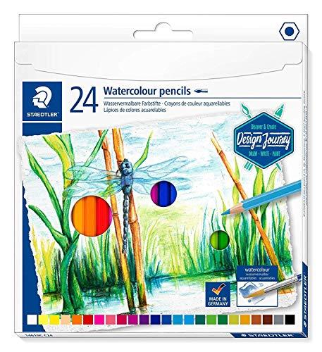 Staedtler Design Journey 14610C Box of 24 Assorted Watercolour Pencils
