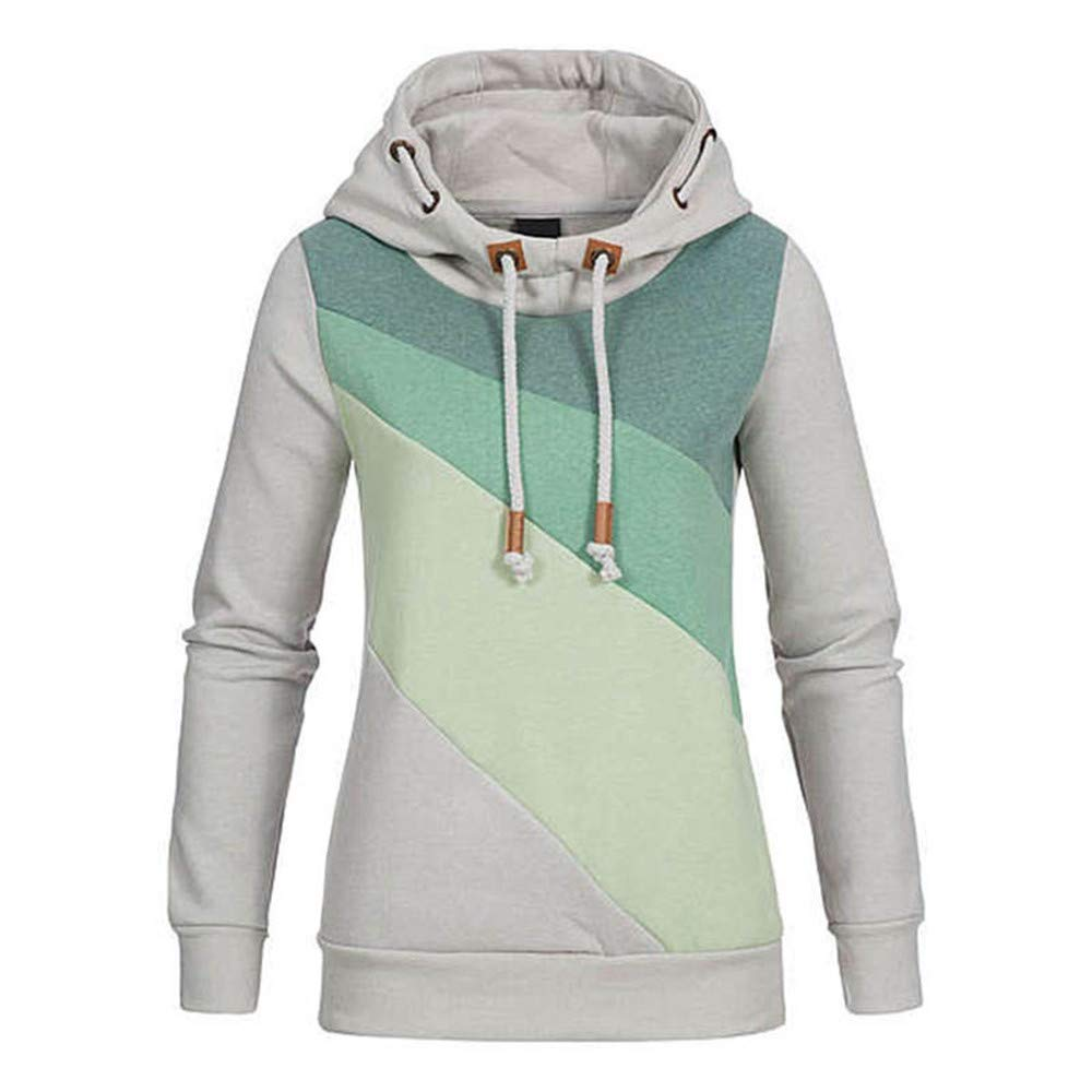 UOFOCO Casual Hooded Pullovers Womens Lace-up Hat Gradient Cotton Sweatshirt Hoodies