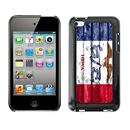 FJCases Iowa The Hawkeye State Wood Pattern Flag Slim & Thin Hard Case Cover for Apple iPod Touch 4