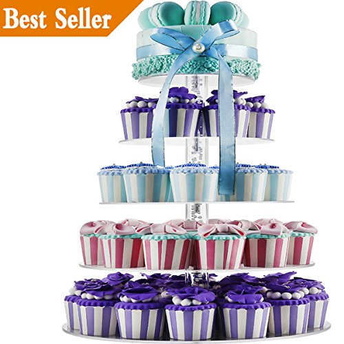 5 Tiers Round Acrylic Cupcakes Stands Holders, Clear Wedding Cakes Stand, Large Pastry Cupcake Tower Stand for 50 60 cupcakes, Cupcake Tree, Cupcake Display DYCacrlic(Unique Bubble Party Decorations) ()