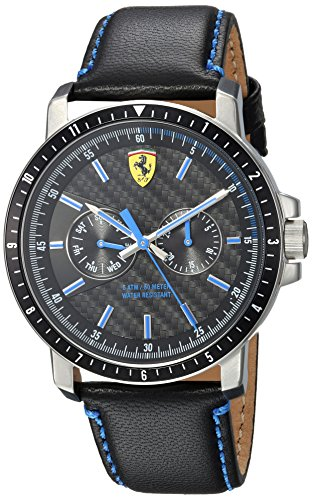 Ferrari-Mens-TURBO-Quartz-Stainless-Steel-and-Leather-Casual-Watch-ColorBlack-Model-830448