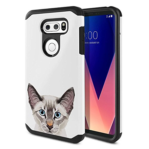 - FINCIBO Case Compatible with LG V30 V30+ Plus H930 VS996 H931 H932 US998 6 inch, Dual Layer Hard Back Hybrid Protector Case Cover Anti Shock TPU for LG V30 V30+ Plus - Lynx Point Lilac Siamese Cat