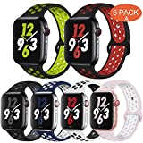 OriBear Compatible for Apple Watch Band 44mm 42mm, Breathable Sporty for iWatch Bands Series 5/4/3/2/1, Watch Nike+, Various Styles and Colors for Women and Men(M/L,6 Pack)