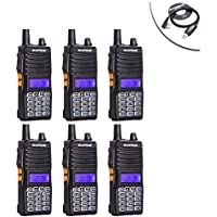 6pcs Baofeng UV-82(II) Tri-Power 8W/4W/1W Two Way Radio Transceiver (Upgraded Version of UV-82 with Tri-Power), Dual Band 136-174/400-520MHz True 8W High Power Two-Way Radios + 1 USB Programming Cable