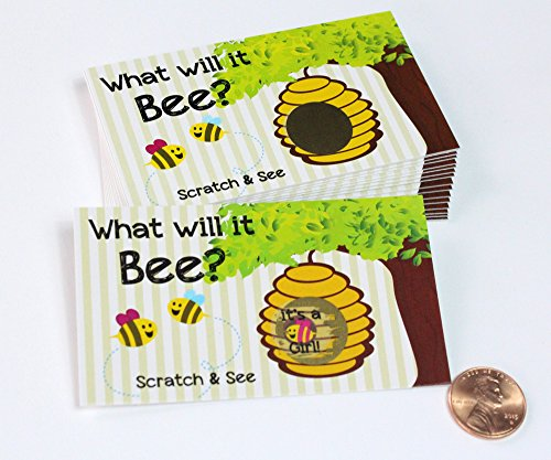 Gender Reveal Unique & Fun Party Ideas- Scratcher Scratch Off Game Cards, Cute Pink Or Blue 'What Will It Bee?' Bumblebee Scratch-Off Tickets (25 cards) My Scratch Offs (Pink~ Girl)