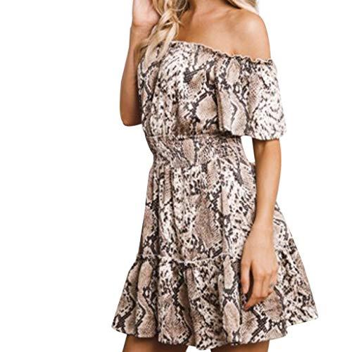 TOTOD Dress, Fashion Women Spaghetti Strap Boho Floral Print Sexy V Neck Beach Skater A Line Minidress(Khaki,S)