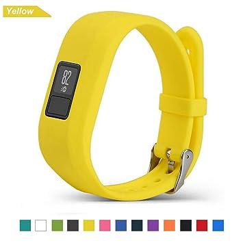 Bemodst Correa Strap para Reloj Garmin Vivofit 3, Pulsera de Silicona Brazalete de Reemplazo Banda de Repuesto para Hombre Mujer (Amarillo)