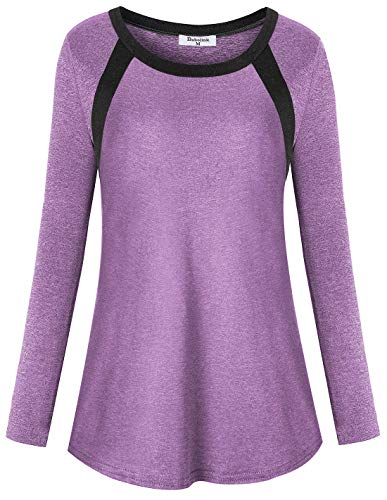 Bobolink Workout Clothes for Plus Size Women, Long Sleeve Crewneck Yoga Top Gym Shirts Comfy Performance Tunics 1x Running Tshirts Flattering Athletic Tee for Jogging Hiking Athleisure Blouse XL