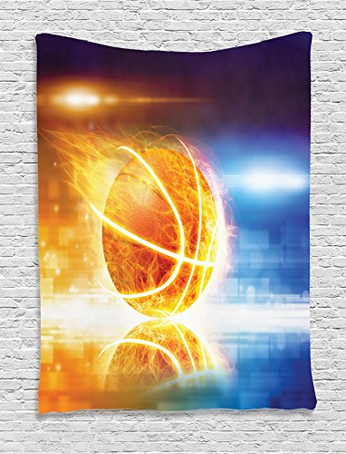 Ambesonne Basketball Tapestry, Abstract Sports Background Burning Basketball with Digital Reflection Art Print, Wall Hanging for Bedroom Living Room Dorm, 60 W X 80 L Inches, Yellow Blue