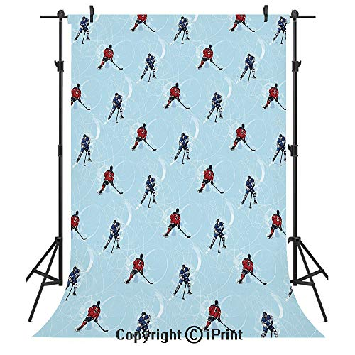- Sport Photography Backdrops,Abstract Lines Background Ice Hockey Pattern Competitive Match Winter Season,Birthday Party Seamless Photo Studio Booth Background Banner 3x5ft,Blue Red Black