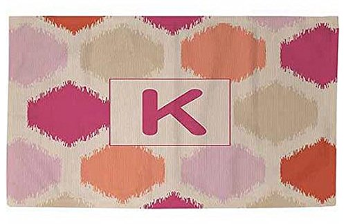 Manual Woodworkers & Weavers 4 x 6-Foot Dobby Bath Rug, Monogrammed Letter K, Pink Batik by Manual Woodworker