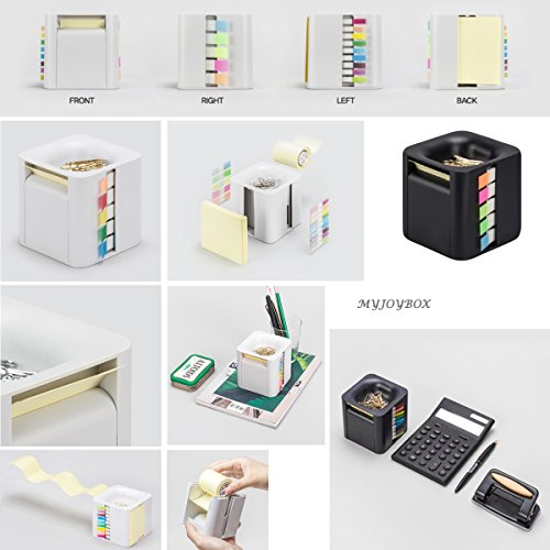 All-in-One Pop-up Note & Roll Sticky Note Dispenser Assorted Index Flag Dispenser Paper Clip Tub Desk Organizer (Black) by Gifti (Image #6)