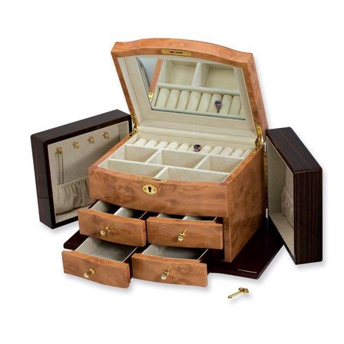 Blonde Burlwood, Walnut, and Dark Maple Finish Jewelry Box