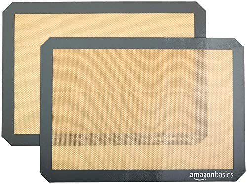 AmazonFundamentals Silicone, Non-Stick, Food Safe Baking Mat - Pack of two