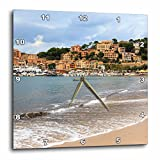 3dRose Danita Delimont - Cities - Spain, Balearic Islands, Mallorca, Port of Soller historic waterfront - 13x13 Wall Clock (dpp_277908_2)