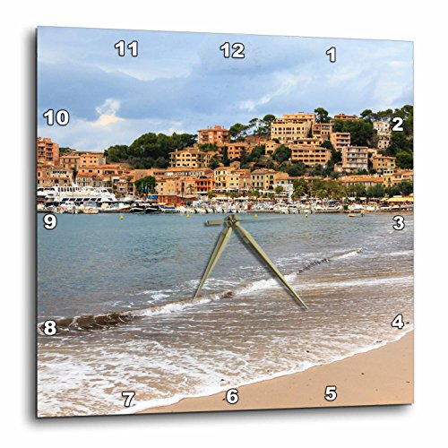 3dRose Danita Delimont - Cities - Spain, Balearic Islands, Mallorca, Port of Soller historic waterfront - 13x13 Wall Clock (dpp_277908_2) by 3dRose