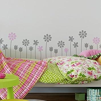 Schablonen Kinderzimmer | Sommer Blumen Dekor Schablone Kinderzimmer Madchen Blumen Haus Wand