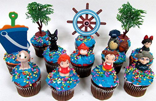 ANIME-Studio-Ghibli-Themed-Birthday-CUPCAKE-Topper-Set-Featuring-Ponyo-Yubaba-Jiji-Kodoma-Decorative-Themed-Accessories-Figures-Average-1-to-2-Tall